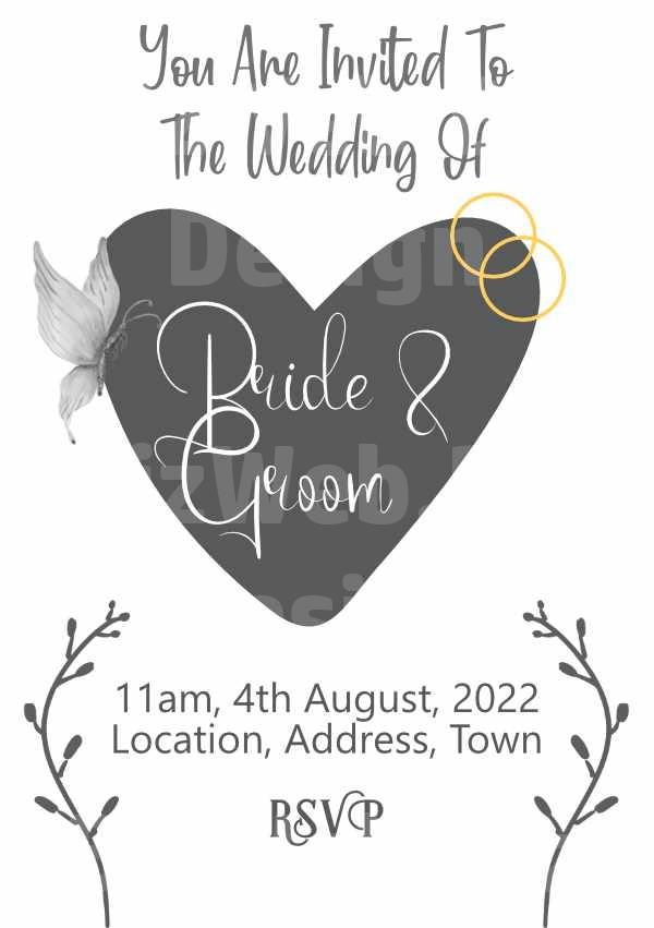 Grey Heart Wedding Invitation - A5