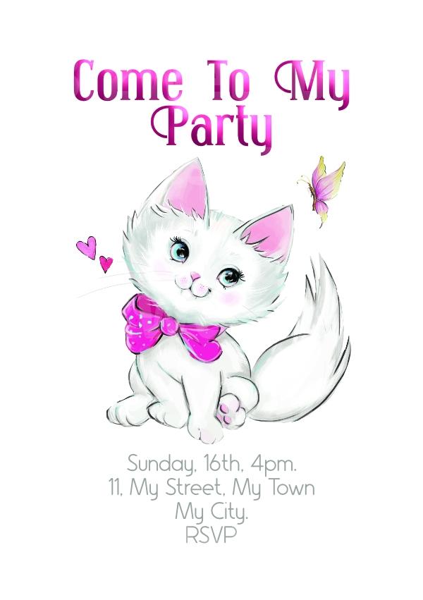 Pretty Kitty Party Invitation - A5